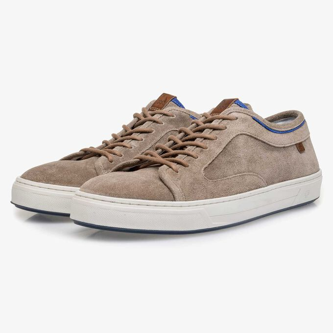 Taupe-coloured washed suede leather sneaker