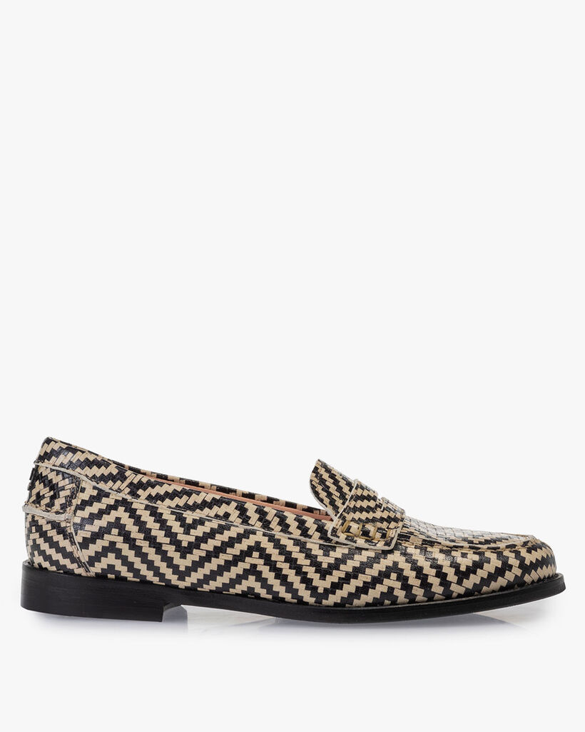 Loafer printed leather black & white