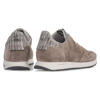 Taupe-coloured suede leather sneaker