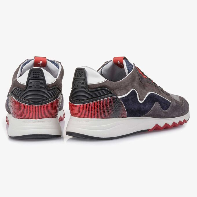 Grey-red suede leather sneaker