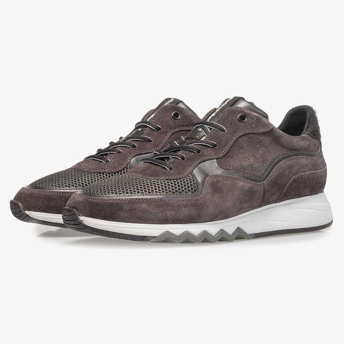 Antraciet/bruine suède sneaker
