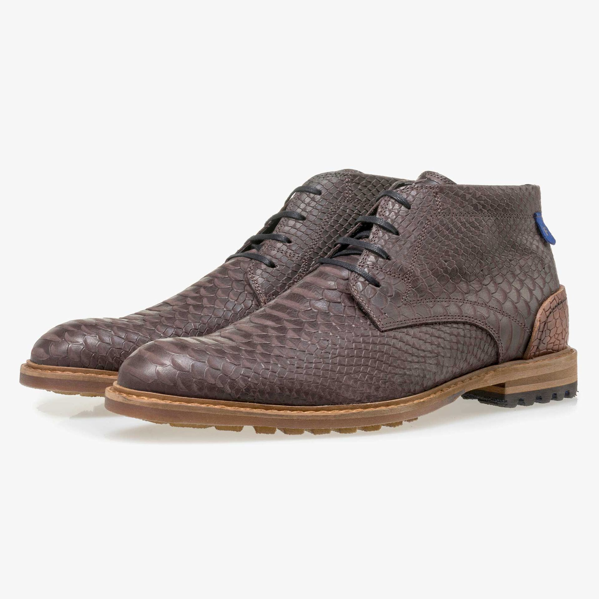 Floris van Bommel men's brown leather lace boot finished with a snake print