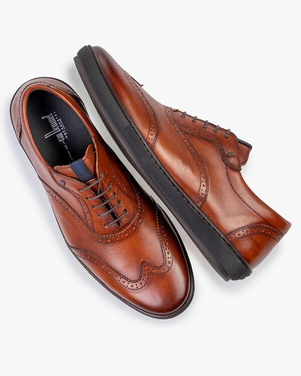 Sneaker calf leather dark cognac