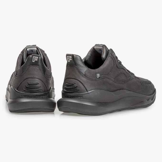 Black nubuck leather sneaker with fine texture