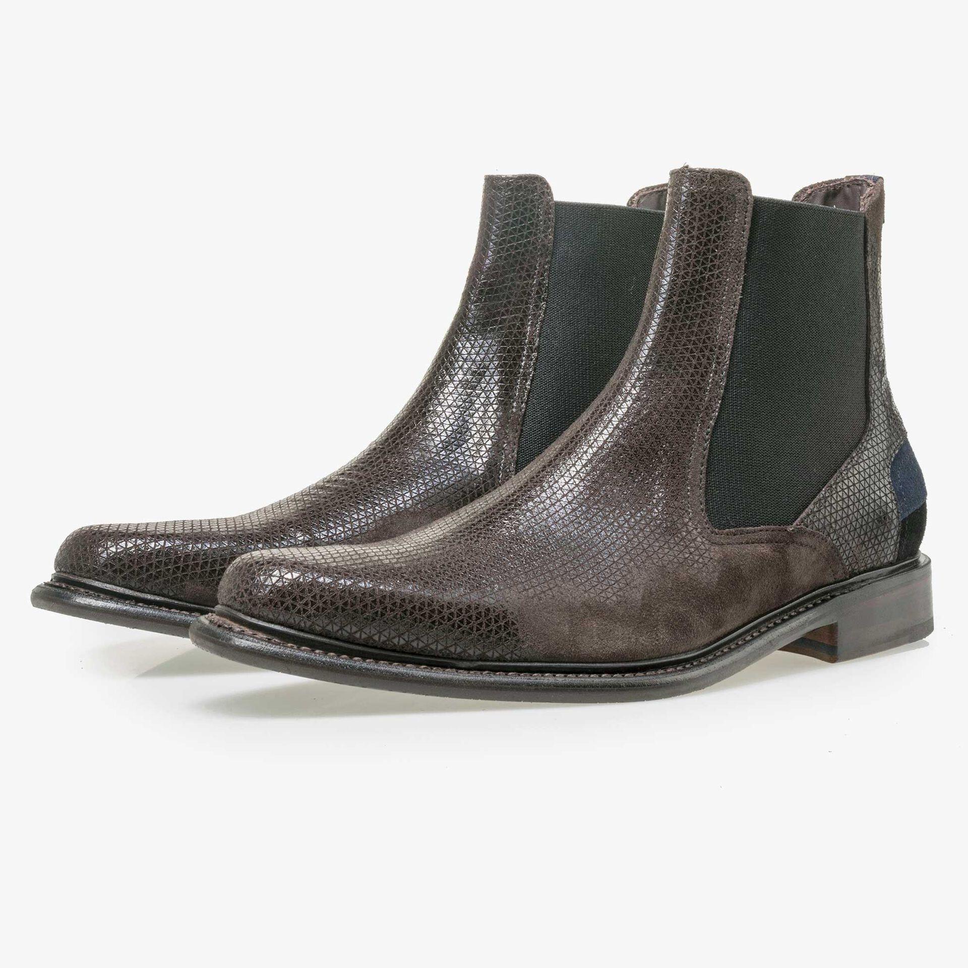 Floris van Bommel men's brown suede leather Chelsea boot