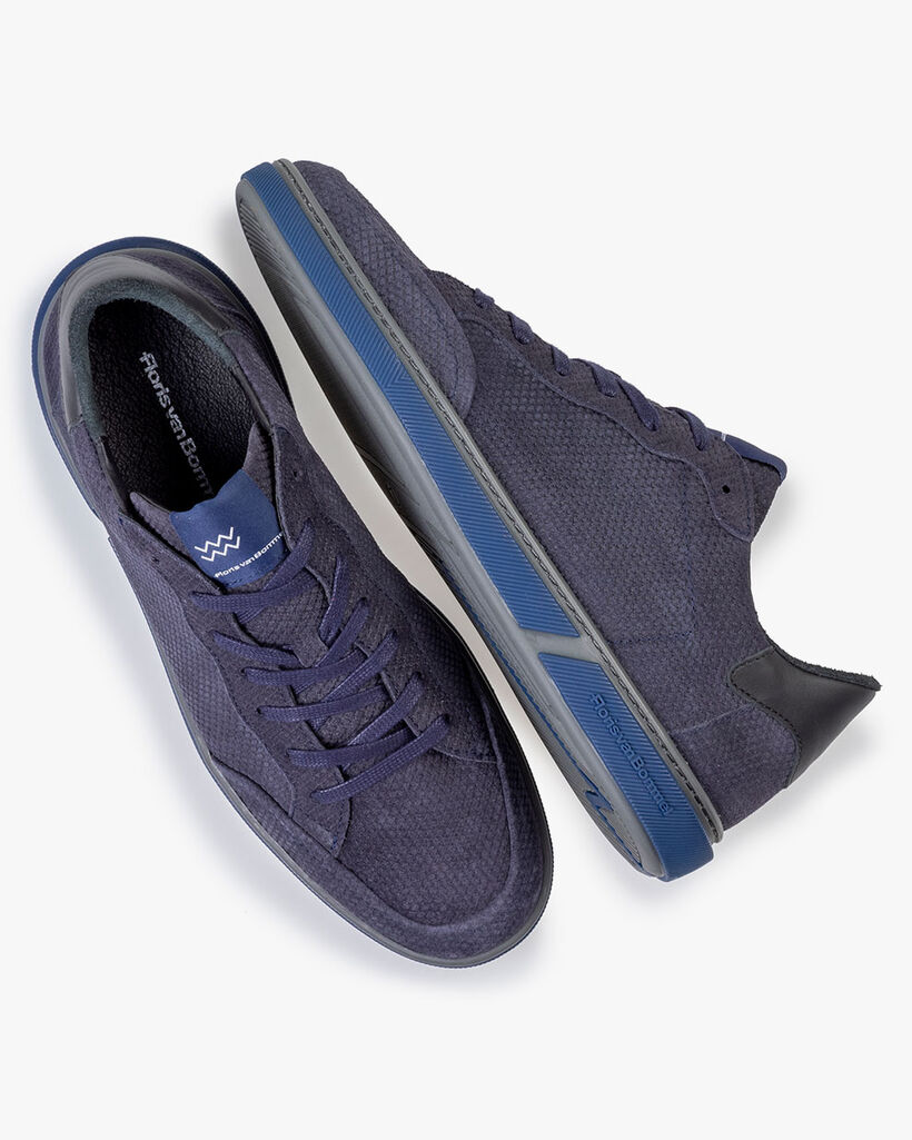 Sneaker leer donkerblauw