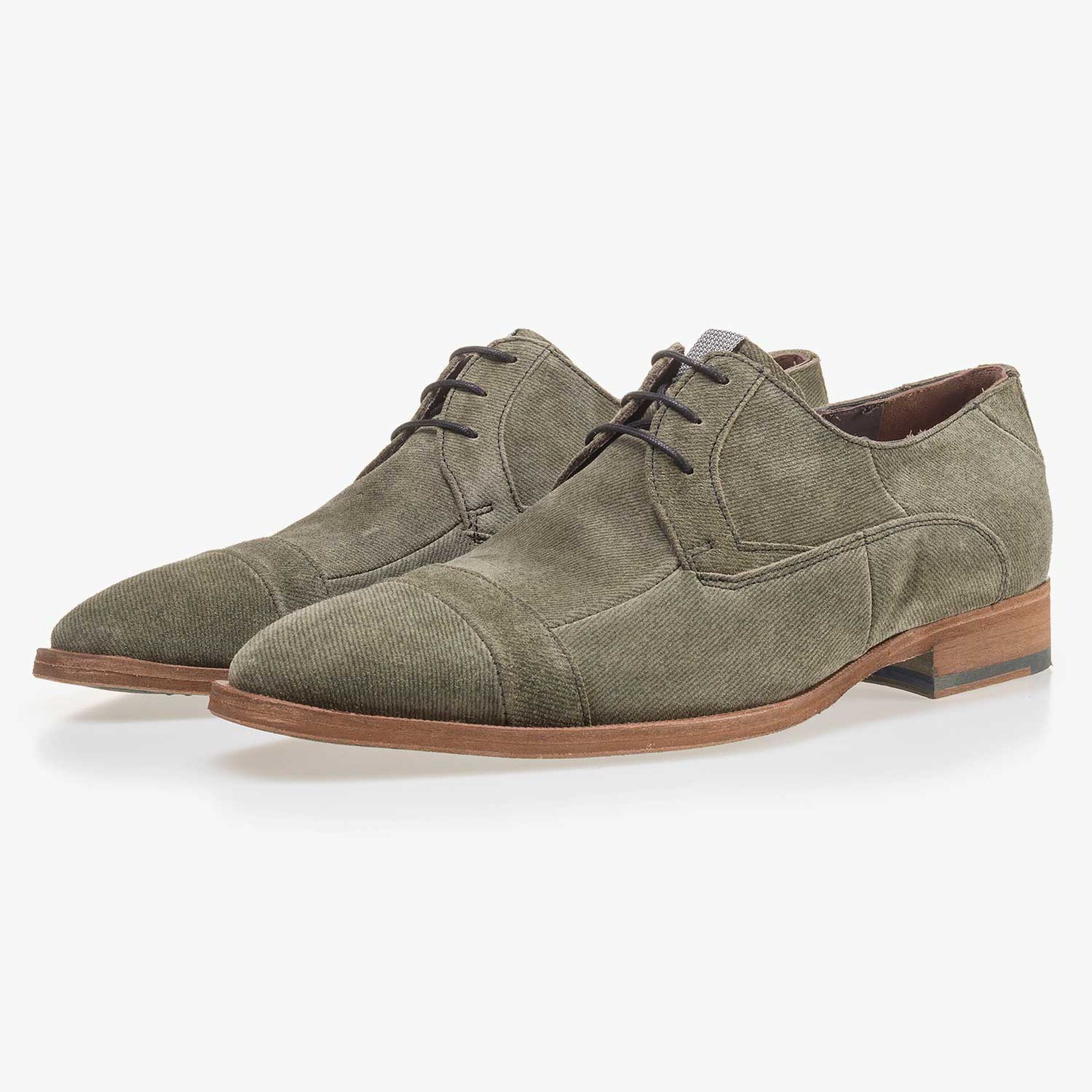 Olive green suede leather lace shoe