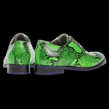 Premium fluor groene veterschoen met snakeprint