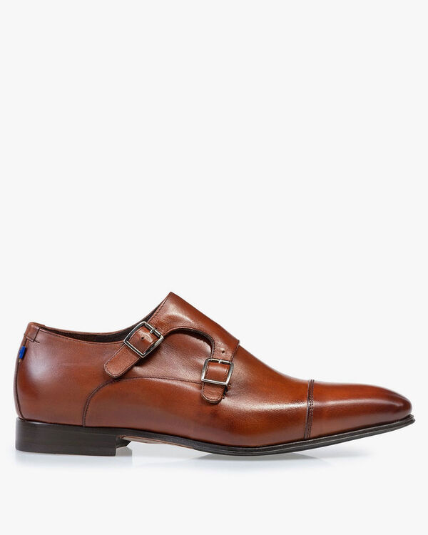 Buckle shoe calf leather cognac