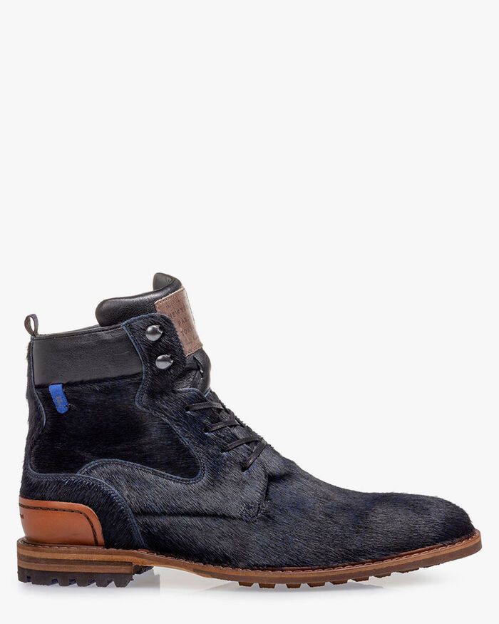 Lace boot pony blue