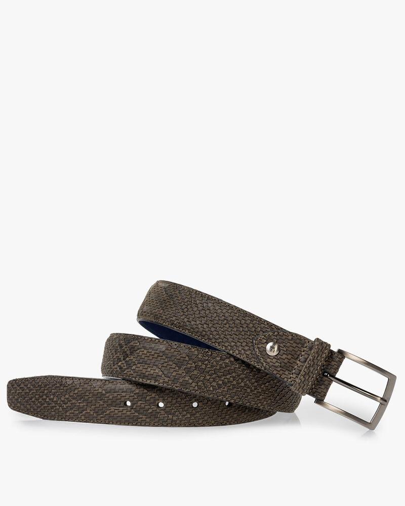 Belt nubuck leather dark green