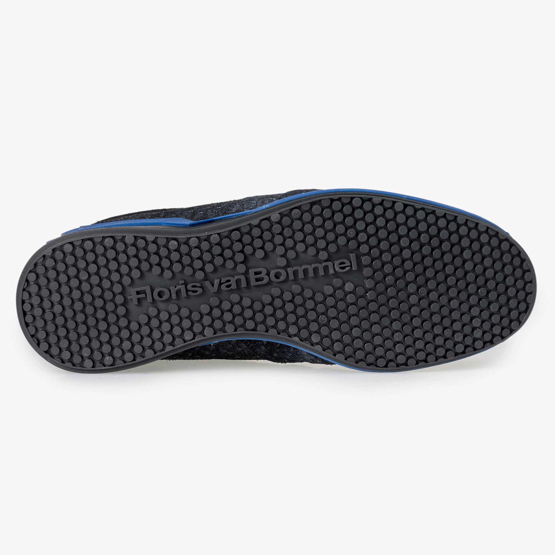 Floris van Bommel blauwe suède snakeprint sneaker