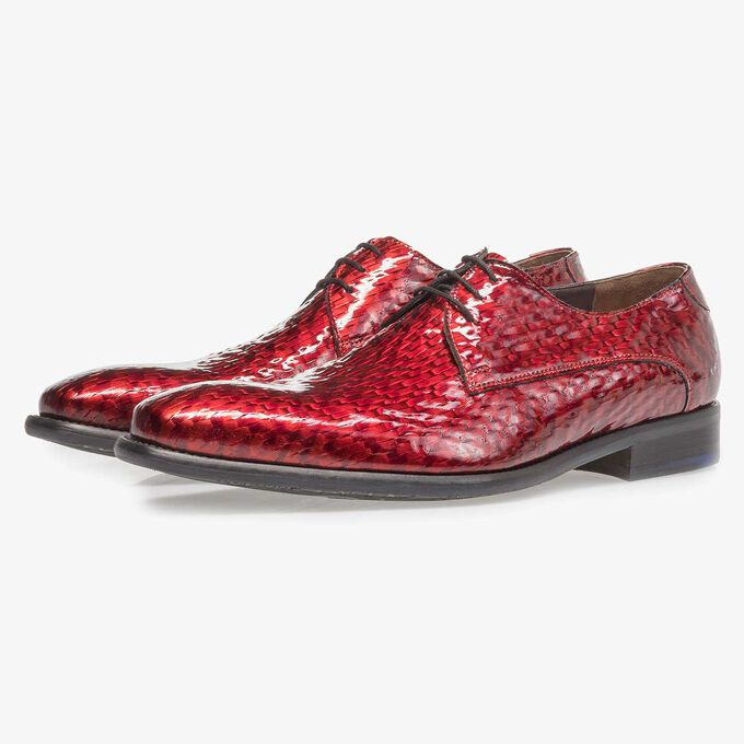 Premium red printed patent leather lace shoe