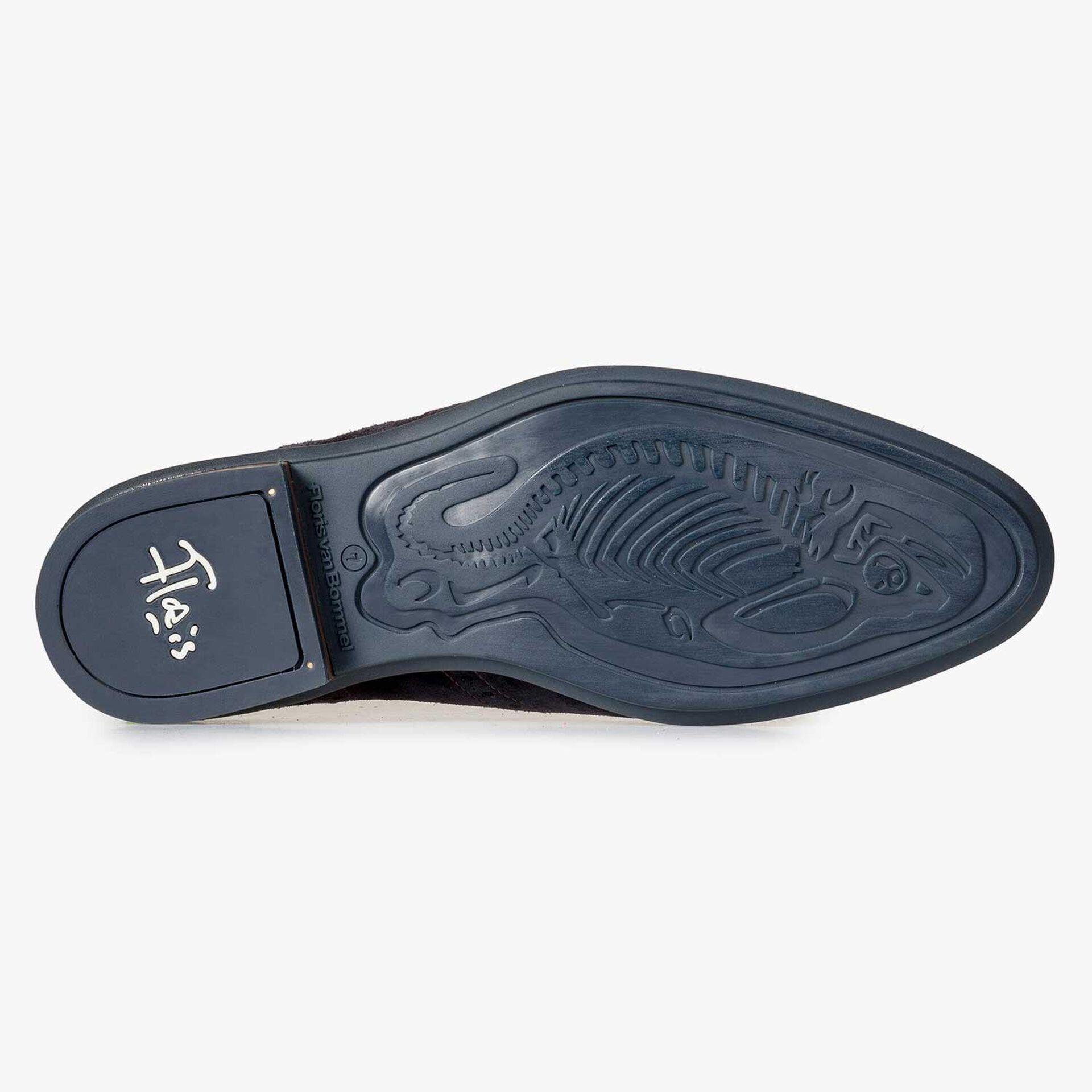 Blue brogue suede leather lace shoe