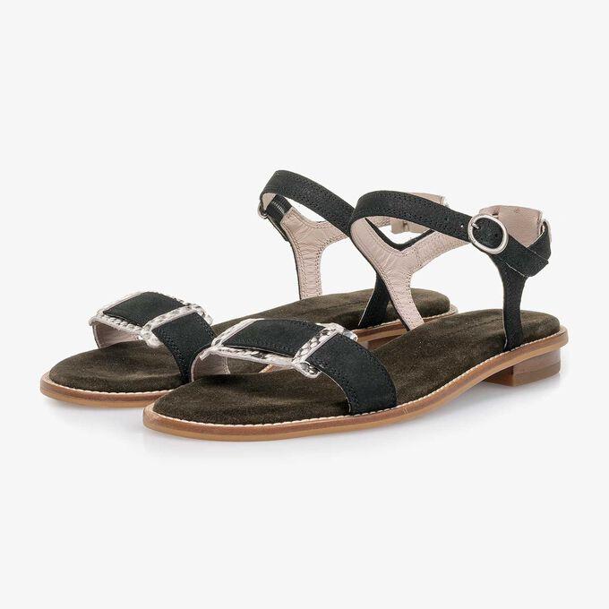 Zwarte nubuckleren sandaal met structuur