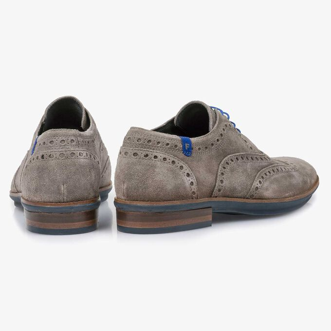 Taupe-coloured suede leather brogue shoe