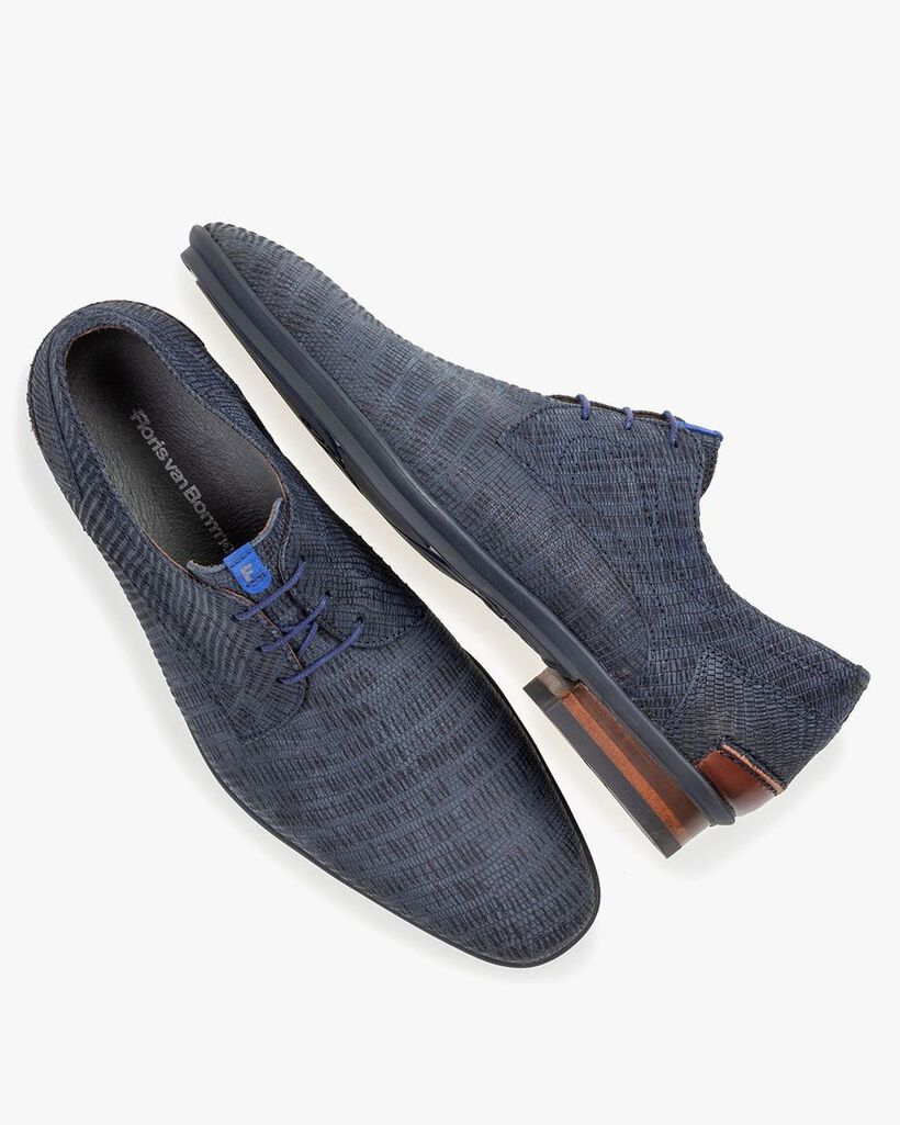 Lace shoe with print dark blue