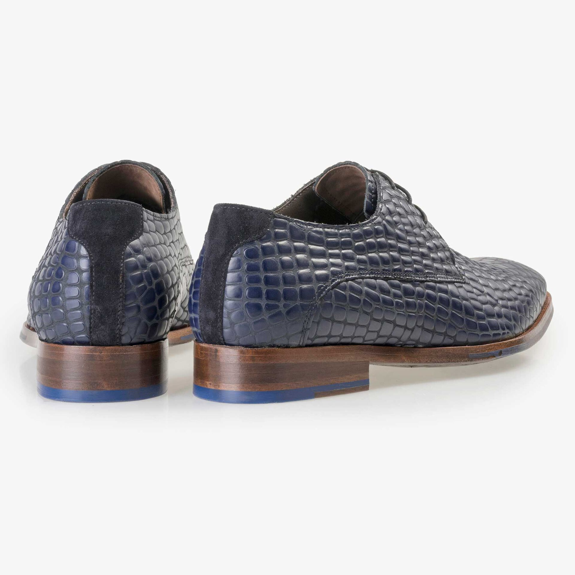 Floris van Bommel black calf's leather lace shoe finished with a blue reptile pattern
