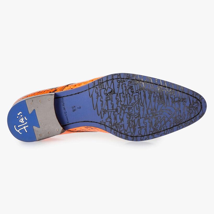 Premium fluorescent orange lace shoe with print