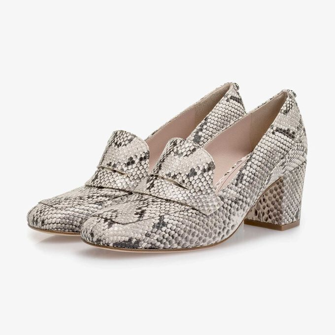 White snake print leather pumps