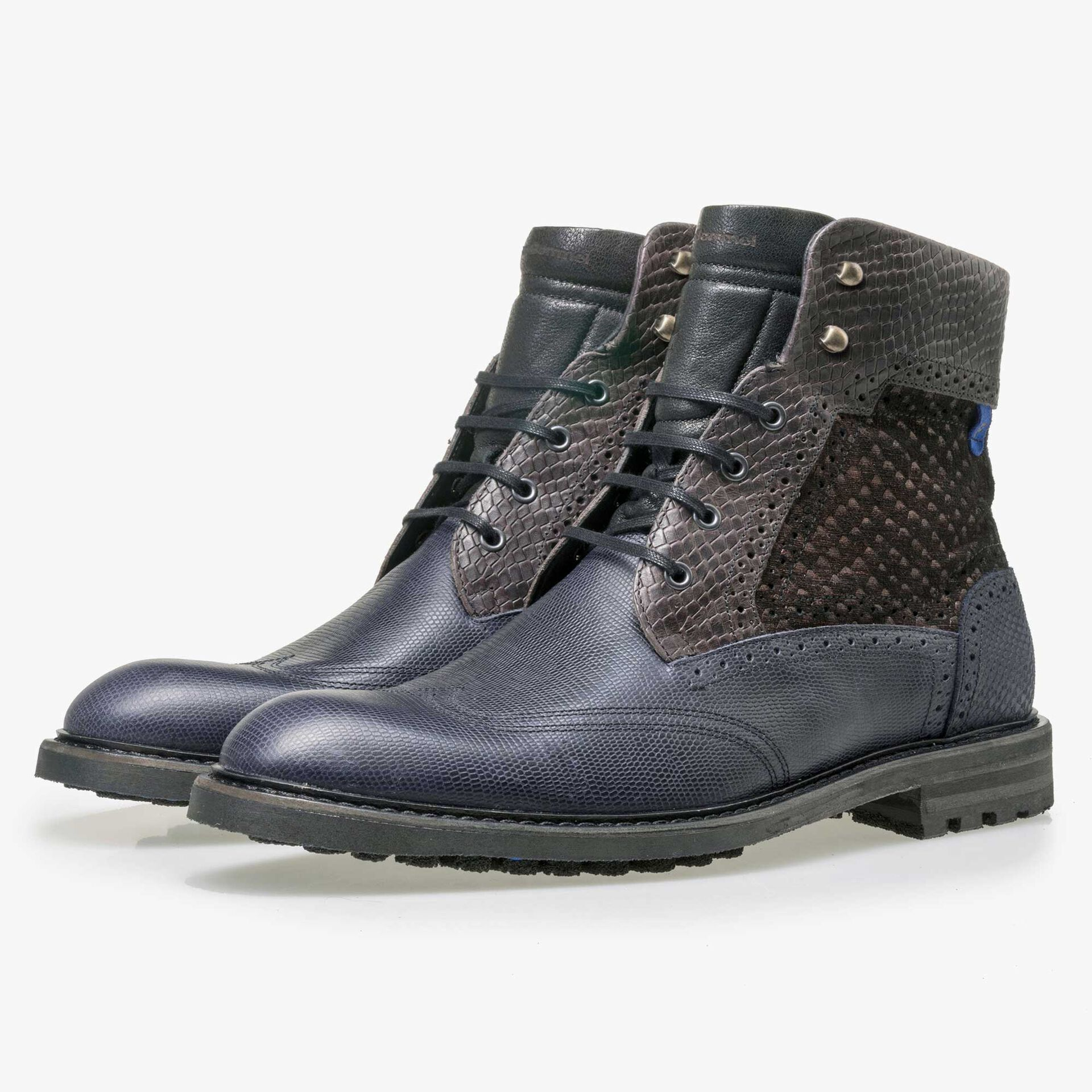 Floris van Bommel dark blue high leather lace boot finished with a snake print