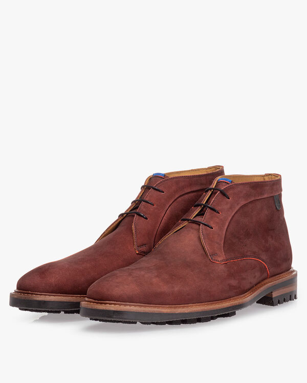 Lace boot nubuck leather red
