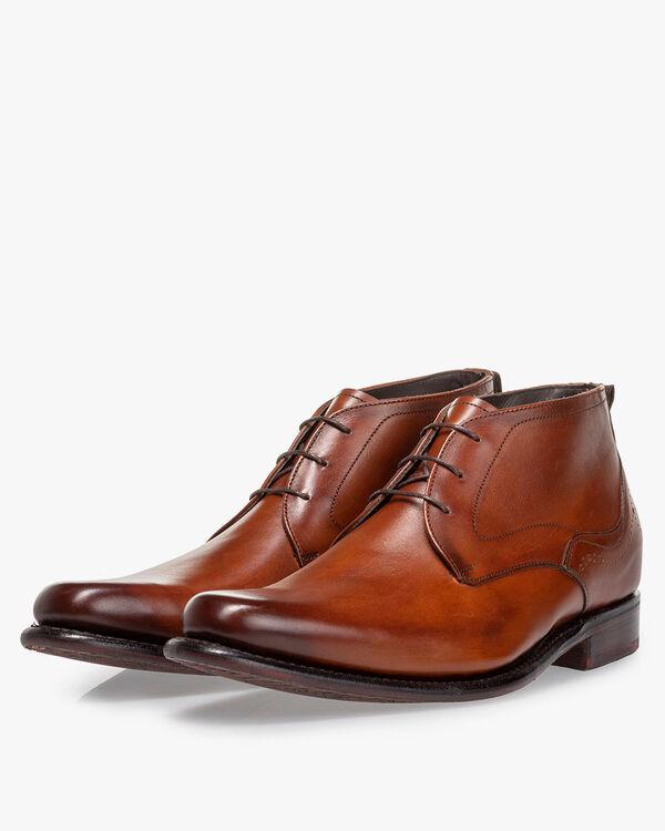 Lace boot calf leather dark cognac