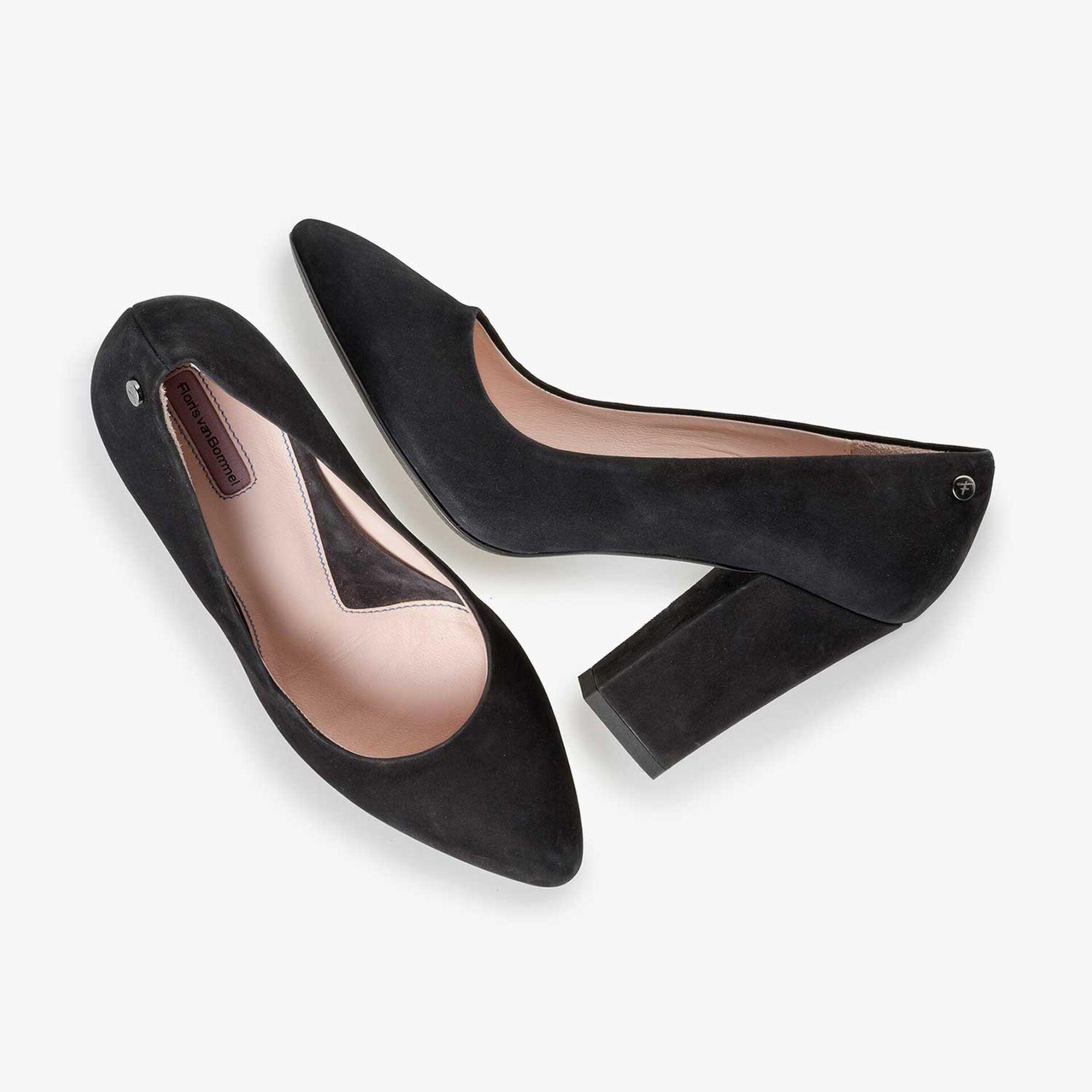 Black nubuck leather high heels