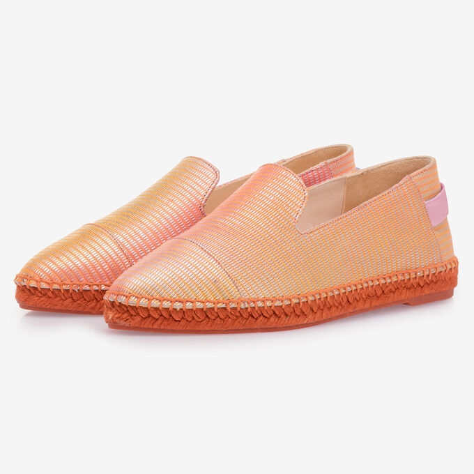 Orange leather espadrilles with metallic print