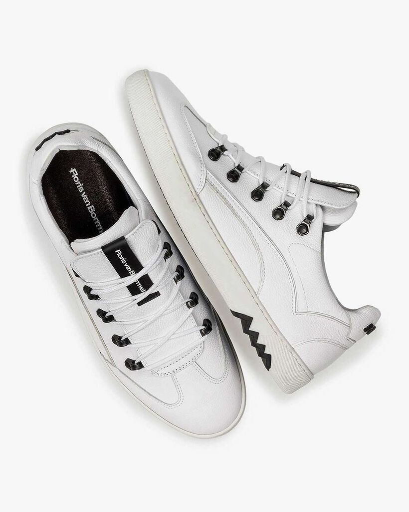 White nubuck leather sneaker with fine texture