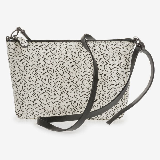 White leather bag with black print
