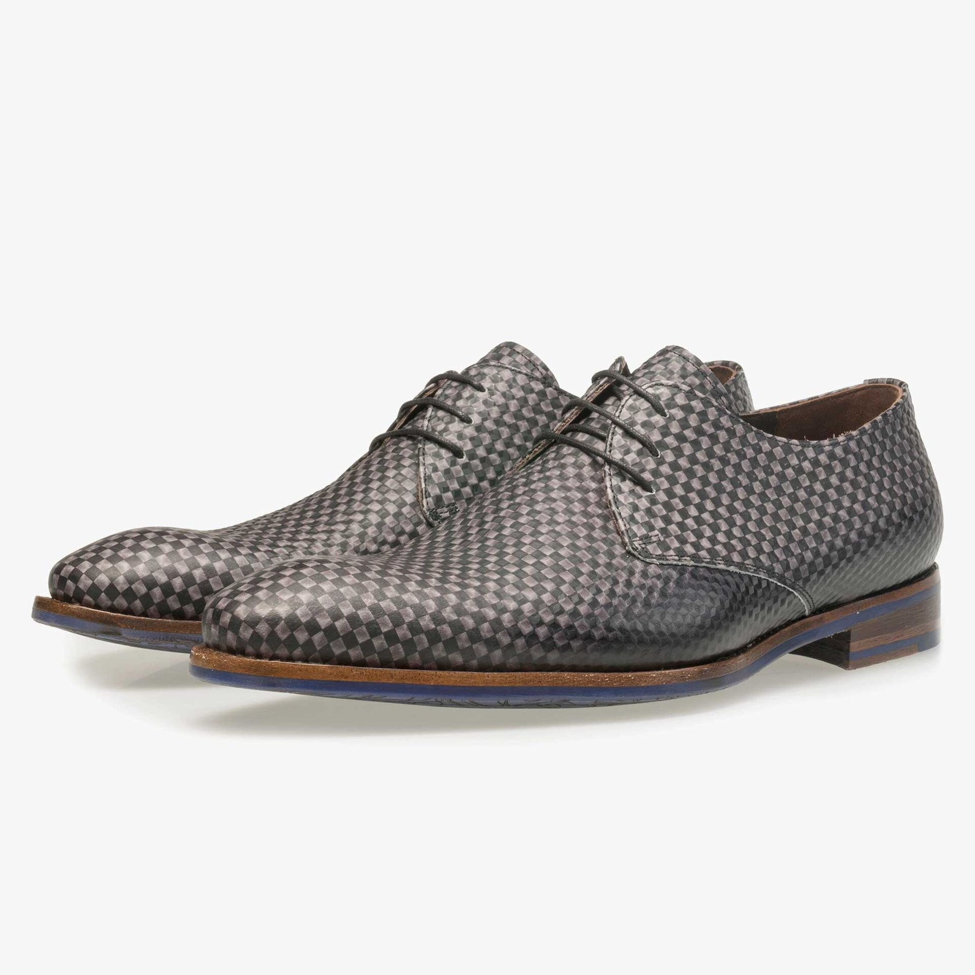 Floris van Bommel men's dark grey leather lace shoe