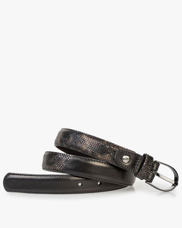 Women's belt croco print copper