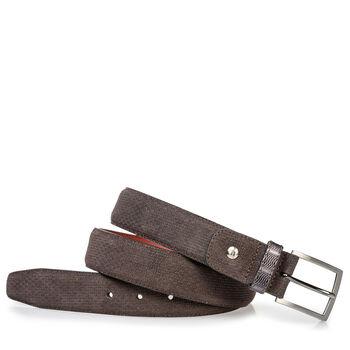 Suede leather belt dark brown with print