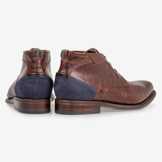 Veterboot crocoprint cognac
