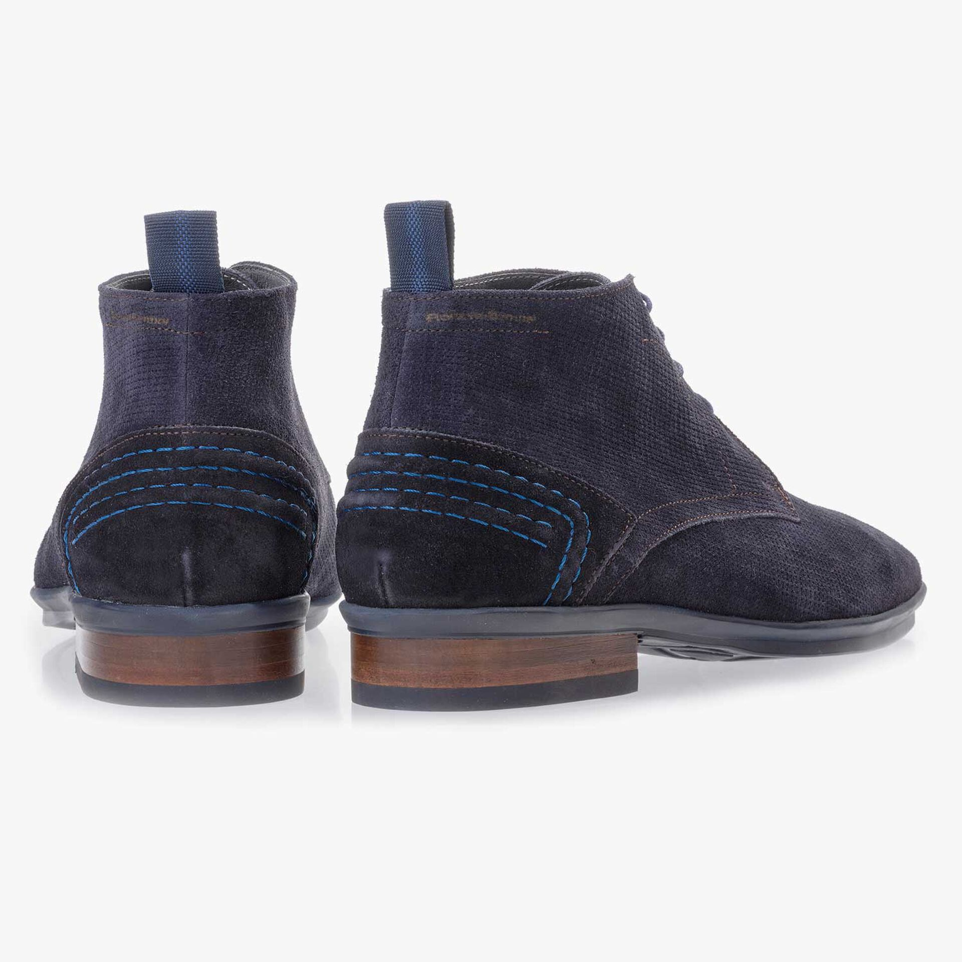 Blue suede leather lace boot with pattern