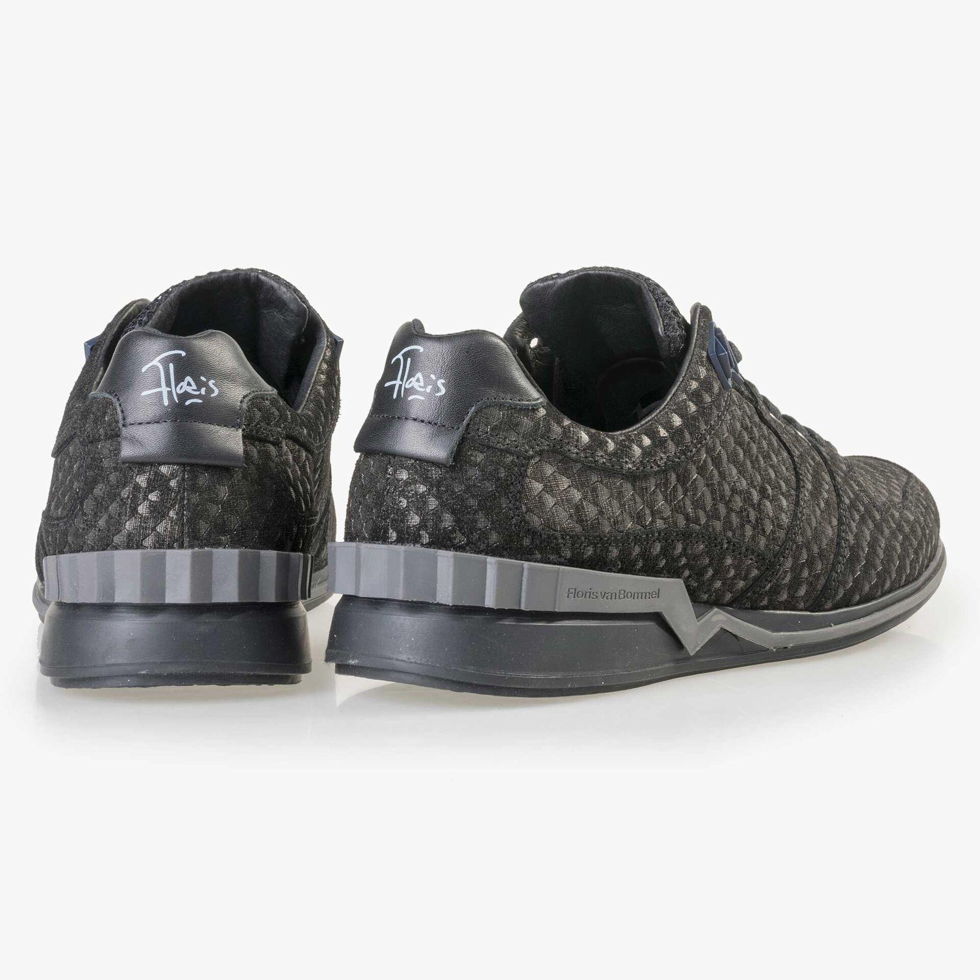 Floris van Bommel grey suede leather snake print sneaker