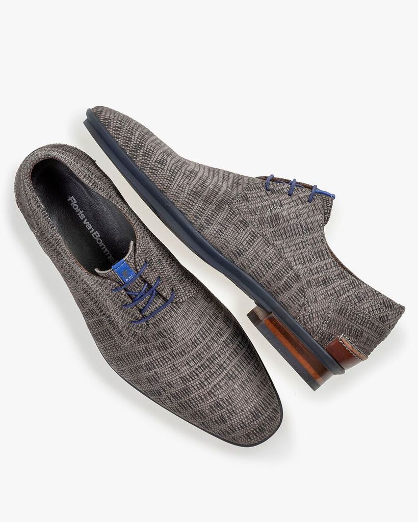 Lace shoe with print taupe