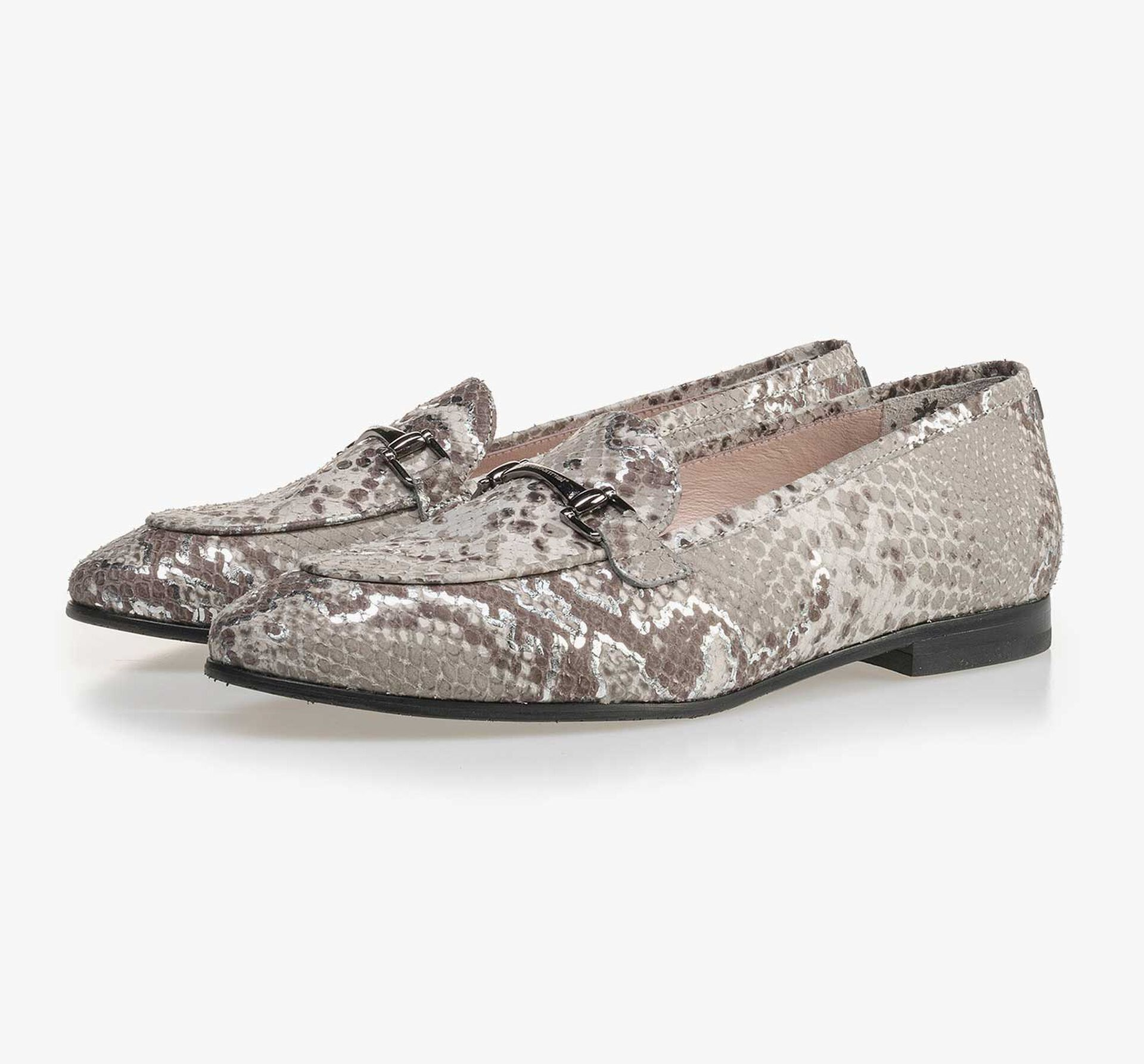 Taupe-coloured leather loafer with snake print