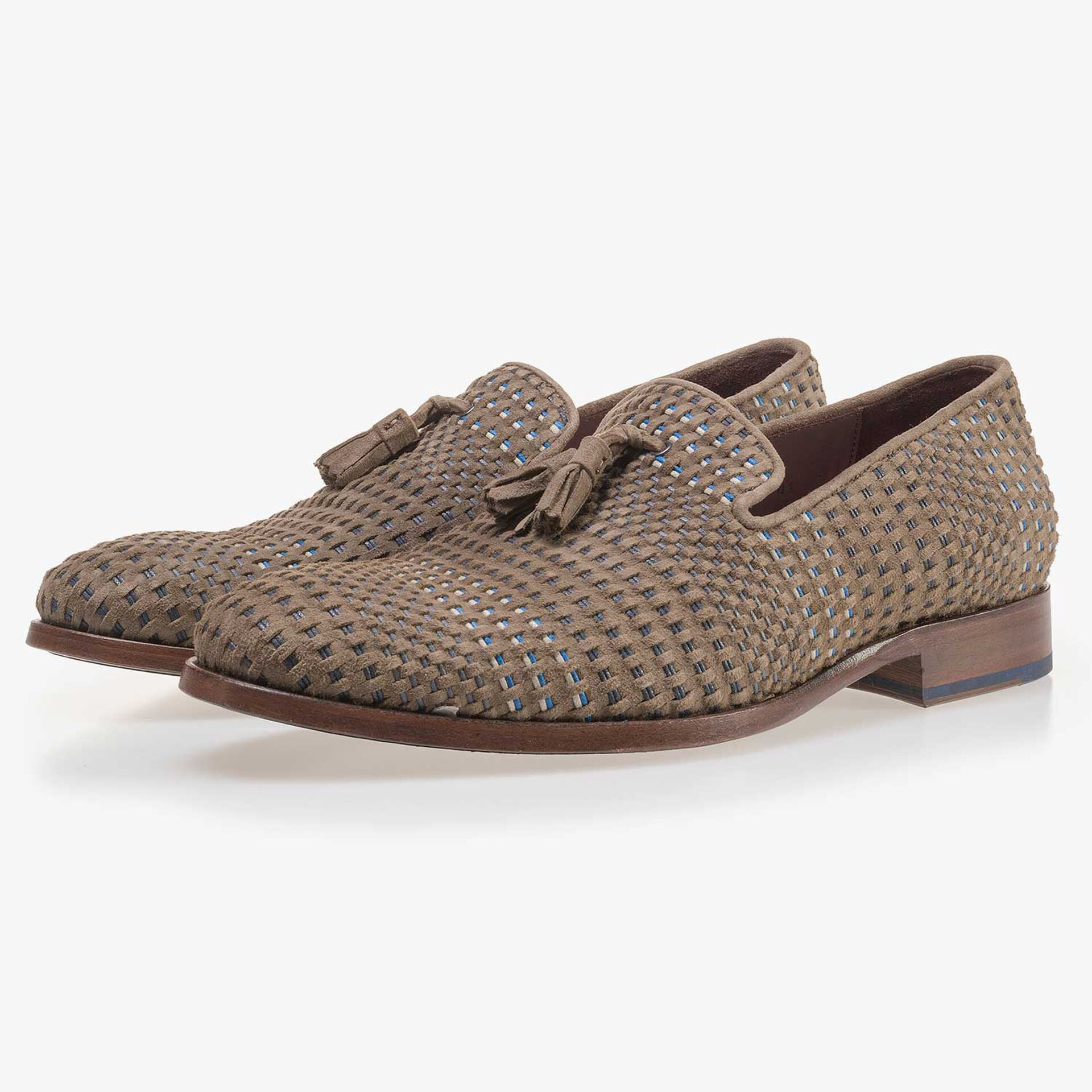Taupe-coloured, braided suede leather loafer