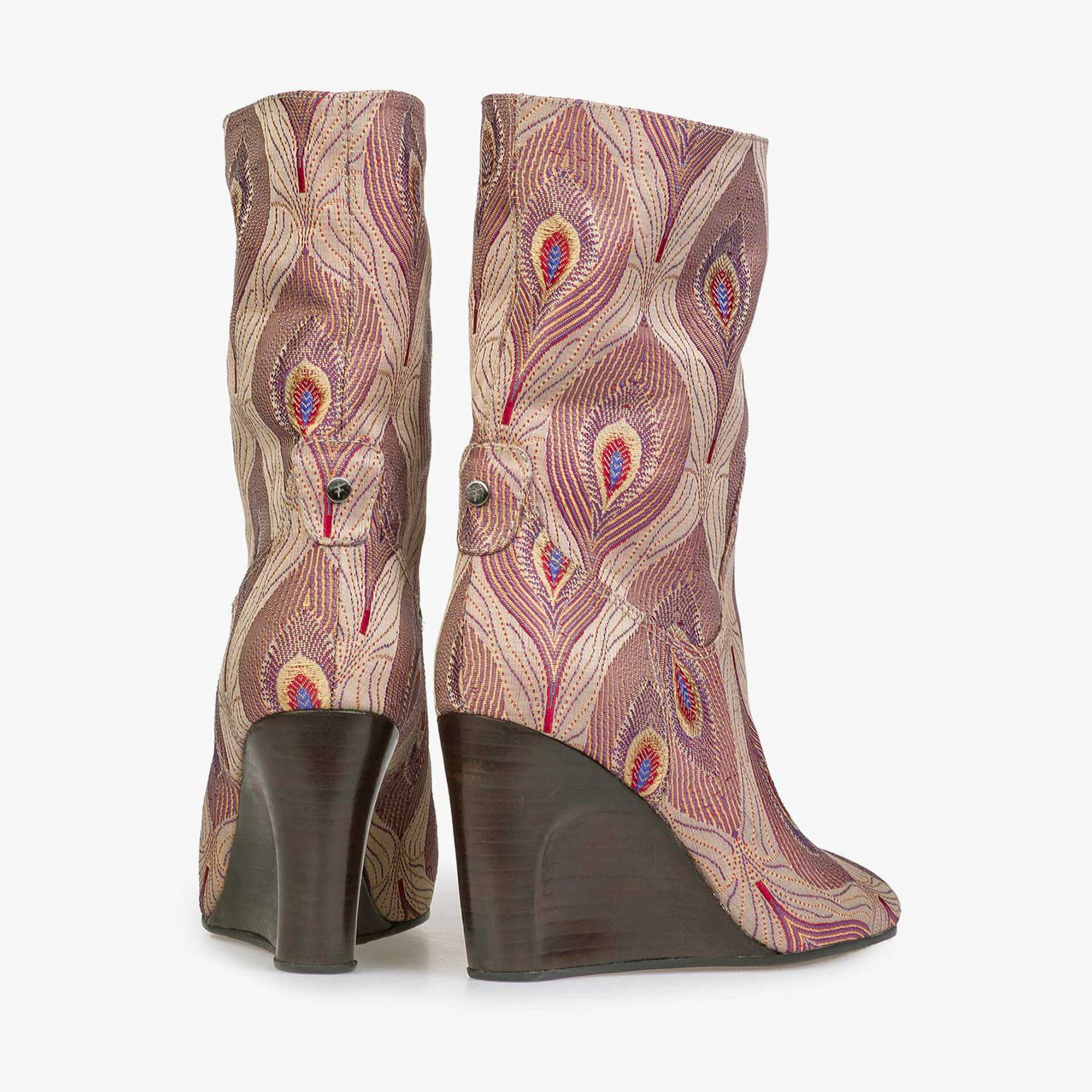 Mid-high boot with dark red peacock print