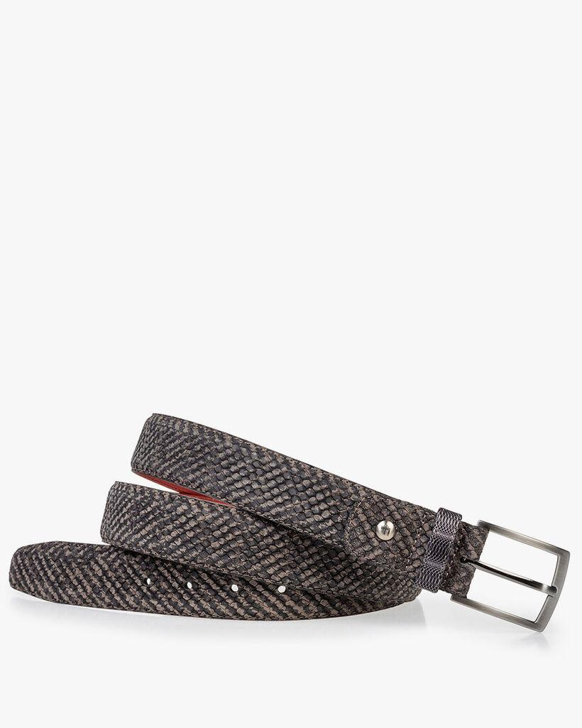 Suède riem grijs met zwarte print