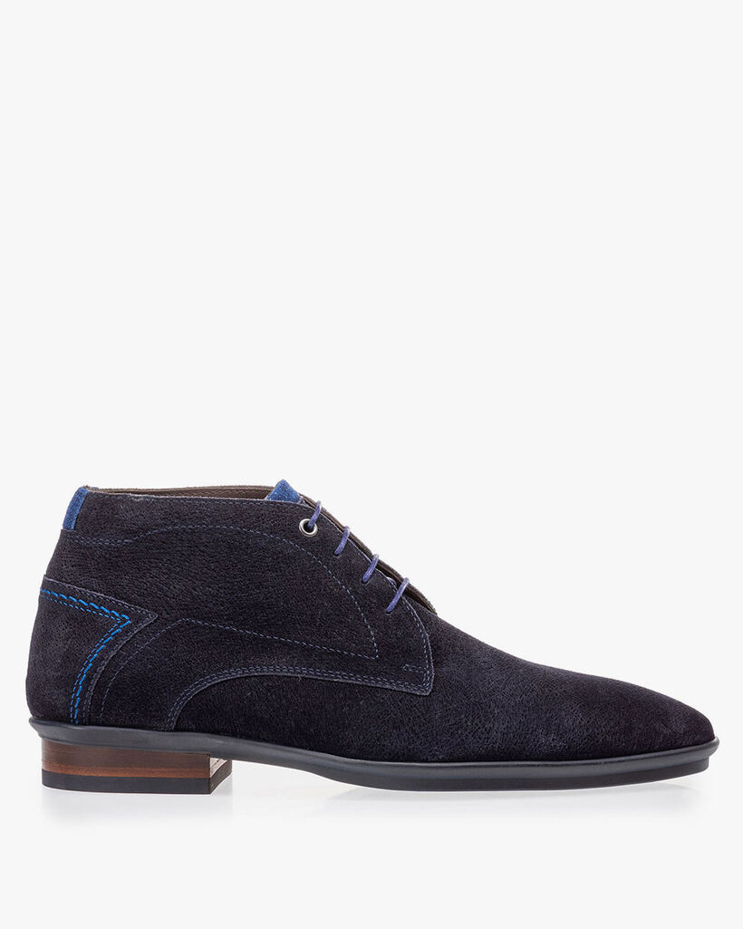 Lace boot blue suede leather