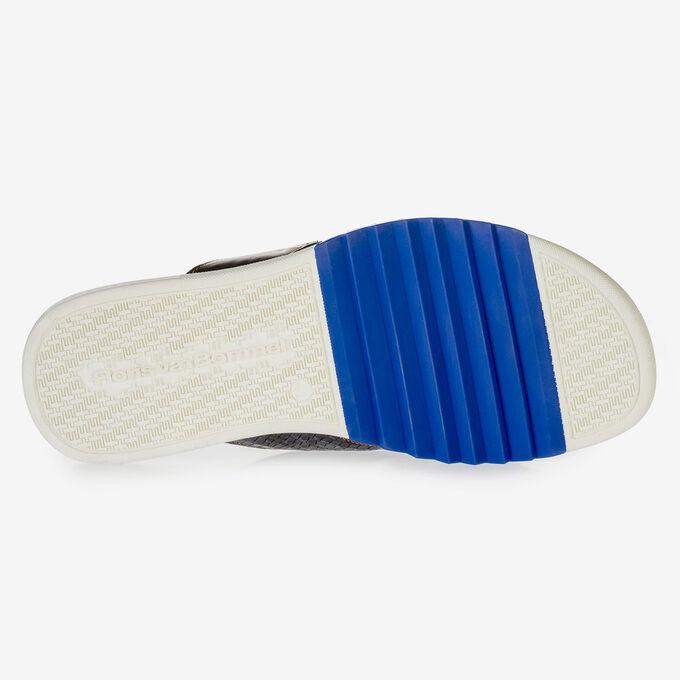 Donkerblauwe nubuckleren kruisband slipper met print