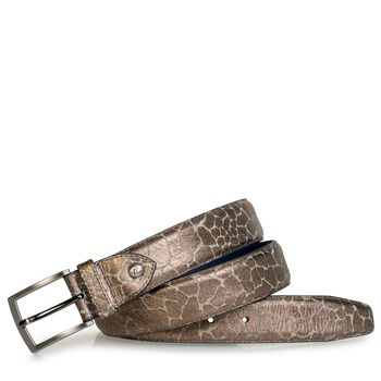 Belt metallic print bronze-coloured