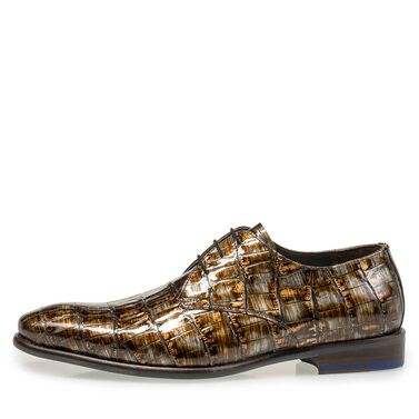 Lakleren veterschoen met crocoprint