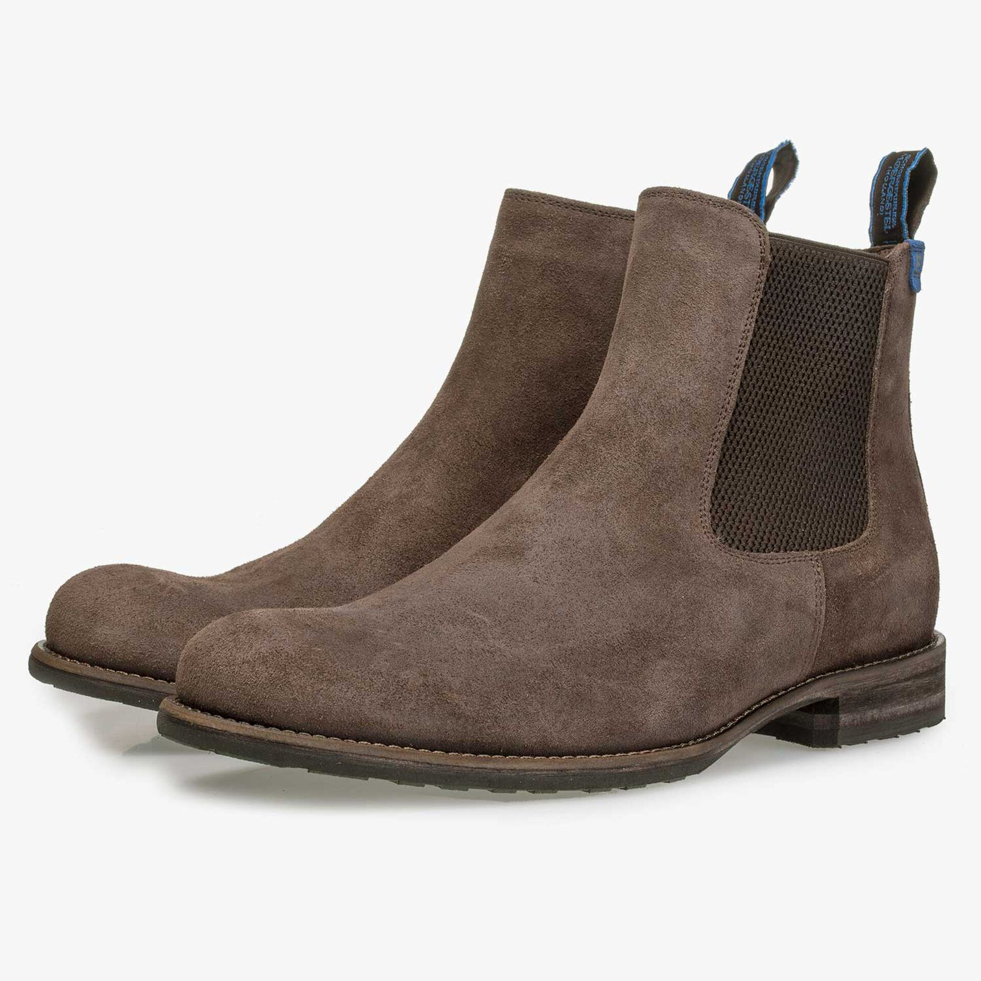 Wool lined brown suede leather Chelsea boot