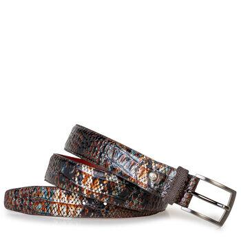 Belt printed leather cognac