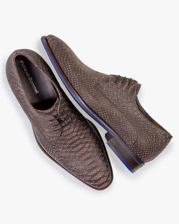 Lace shoe nubuck leather dark brown