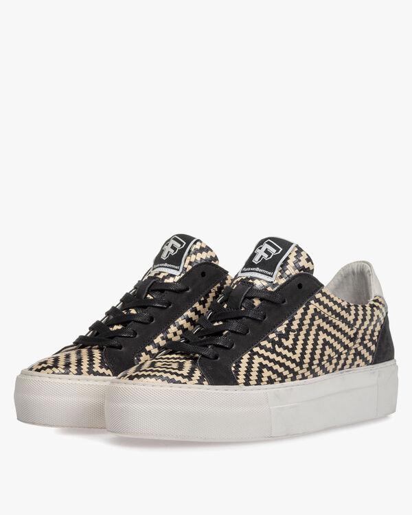 Sneaker geprint leer zwart/wit